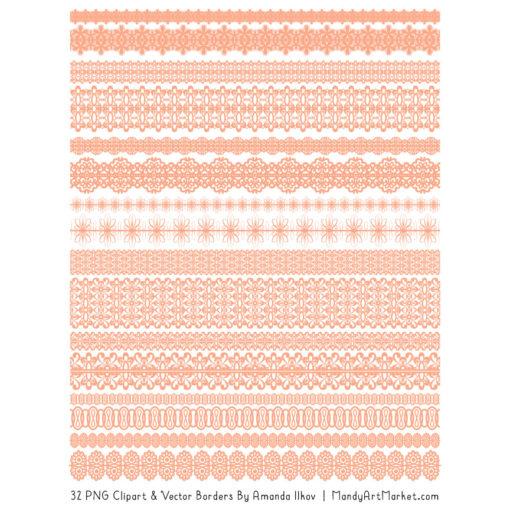 Peach Digital Lace Borders Clipart