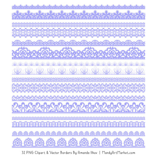 Periwinkle Digital Lace Borders Clipart