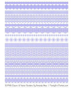 Periwinkle Digital Lace Borders Clipart