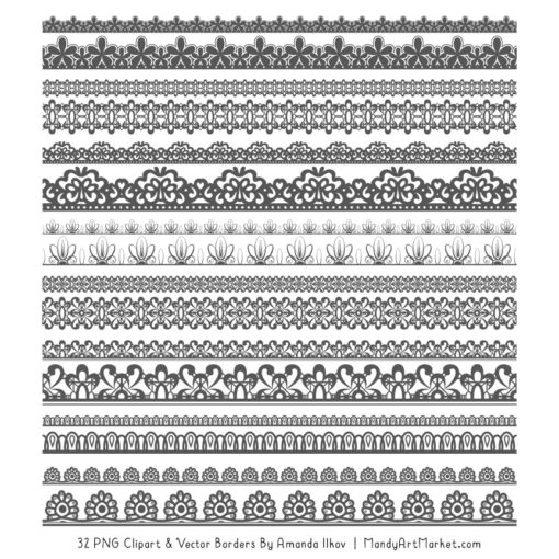 Pewter Digital Lace Borders Clipart