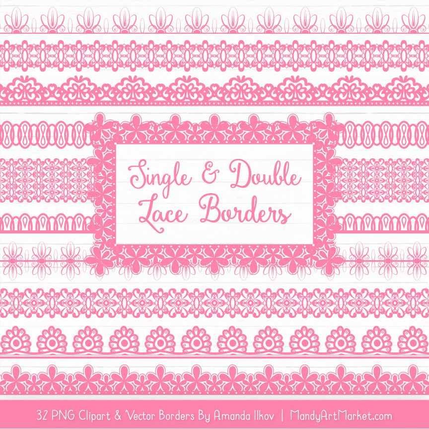 Pink Digital Lace Borders Clipart