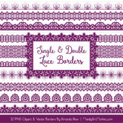 Plum Digital Lace Borders Clipart