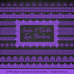 Purple Digital Lace Borders Clipart