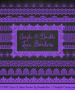 Purple Digital Lace Borders Clipart