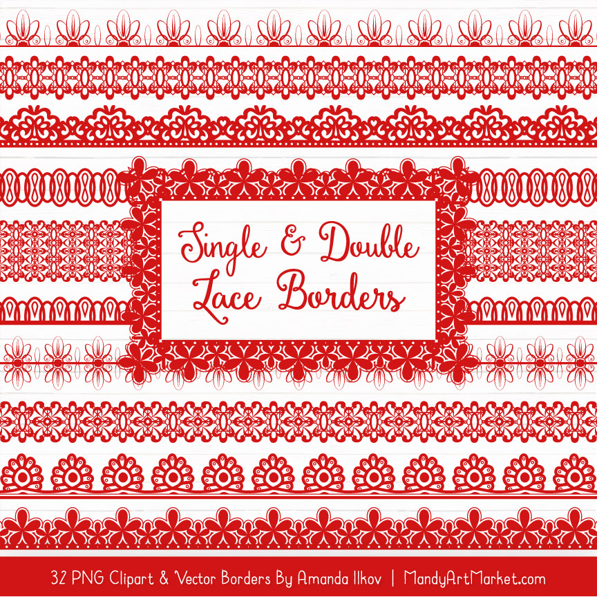 Red Digital Lace Borders Clipart