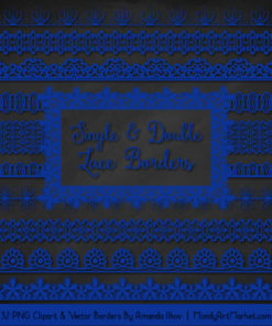Royal Blue Digital Lace Borders Clipart