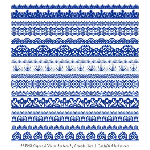 Royal Blue Digital Lace Borders Clipart