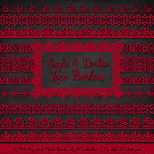 Ruby Digital Lace Borders Clipart