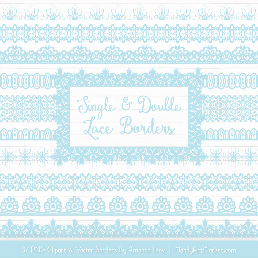 Soft Blue Digital Lace Borders Clipart