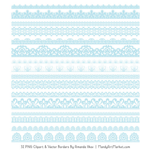 Soft Blue Digital Lace Borders Clipart