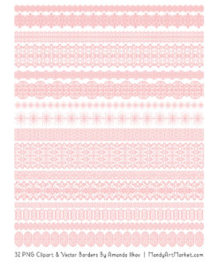 Soft Pink Digital Lace Borders Clipart