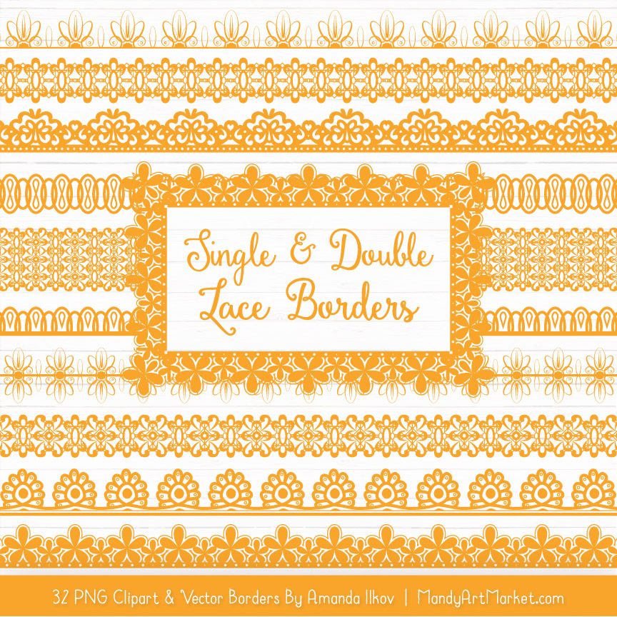 Sunshine Digital Lace Borders Clipart