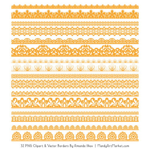 Sunshine Digital Lace Borders Clipart