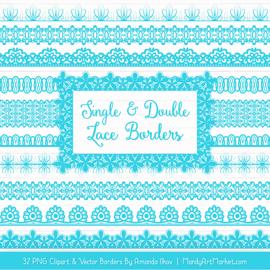 Tropical Blue Digital Lace Borders Clipart