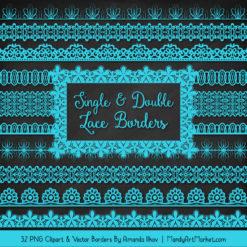 Tropical Blue Digital Lace Borders Clipart