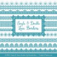 Vintage Blue Digital Lace Borders Clipart