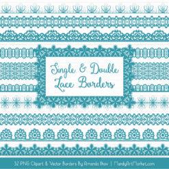 Vintage Blue Digital Lace Borders Clipart