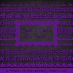 Violet Digital Lace Borders Clipart