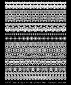 White Digital Lace Borders Clipart