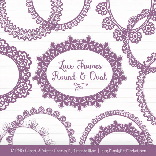 Amethyst Round Digital Lace Frames Clipart