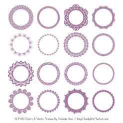 Amethyst Round Digital Lace Frames Clipart