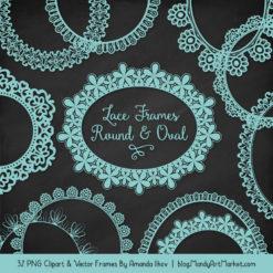 Aqua Round Digital Lace Frames Clipart