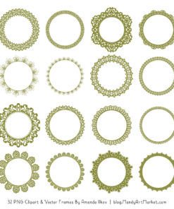 Avocado Round Digital Lace Frames Clipart