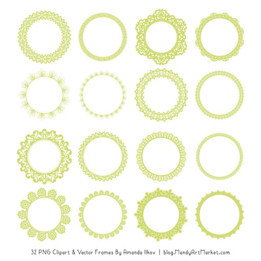 Bamboo Round Digital Lace Frames Clipart