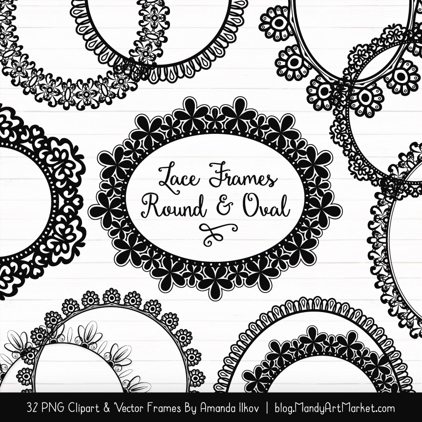 Black Round Digital Lace Frames Clipart