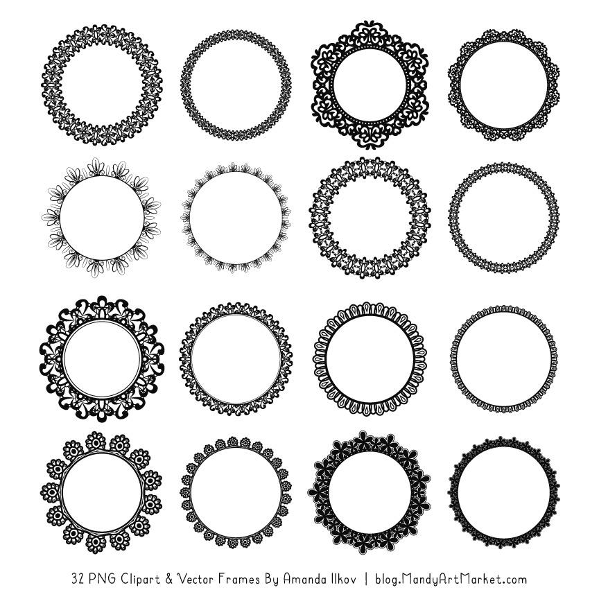 Black Round Digital Lace Frames Clipart