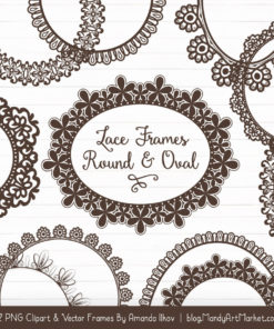 Chocolate Round Digital Lace Frames Clipart