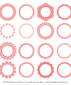 Coral Round Digital Lace Frames Clipart