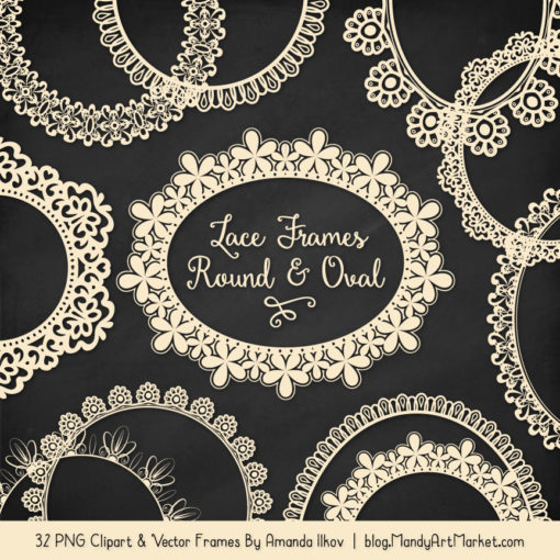 Cream Round Digital Lace Frames Clipart