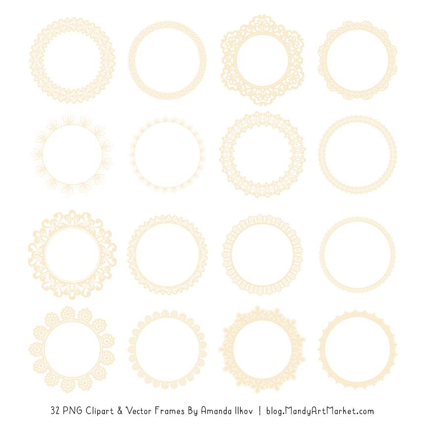 Cream Round Digital Lace Frames Clipart