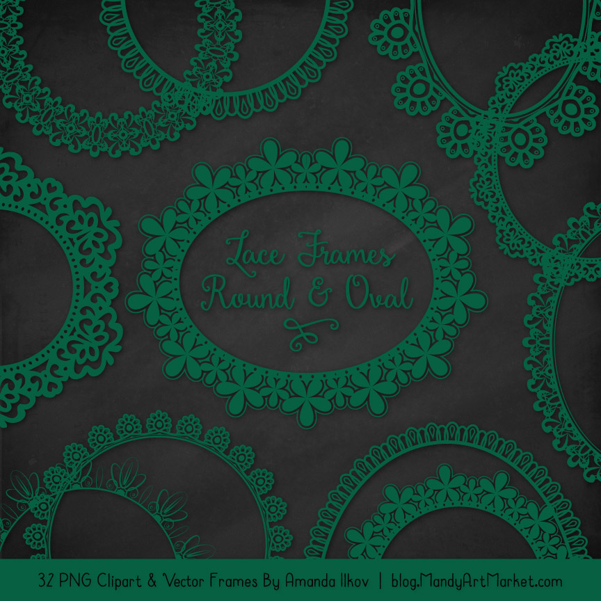 Emerald Round Digital Lace Frames Clipart