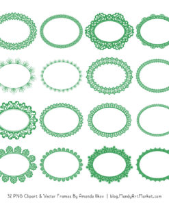 Green Round Digital Lace Frames Clipart