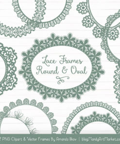 Hemlock Round Digital Lace Frames Clipart