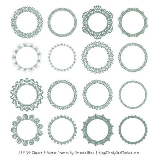 Hemlock Round Digital Lace Frames Clipart