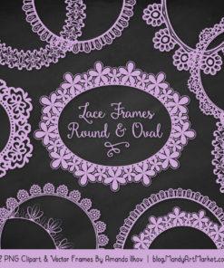 Lavender Round Digital Lace Frames Clipart