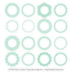 Mint Round Digital Lace Frames Clipart