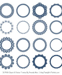 Navy Round Digital Lace Frames Clipart