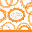 Orange Round Digital Lace Frames Clipart