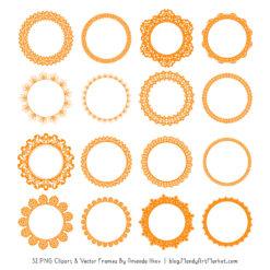Orange Round Digital Lace Frames Clipart