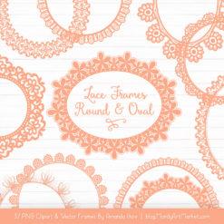 Peach Round Digital Lace Frames Clipart