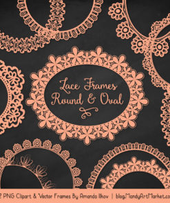 Peach Round Digital Lace Frames Clipart