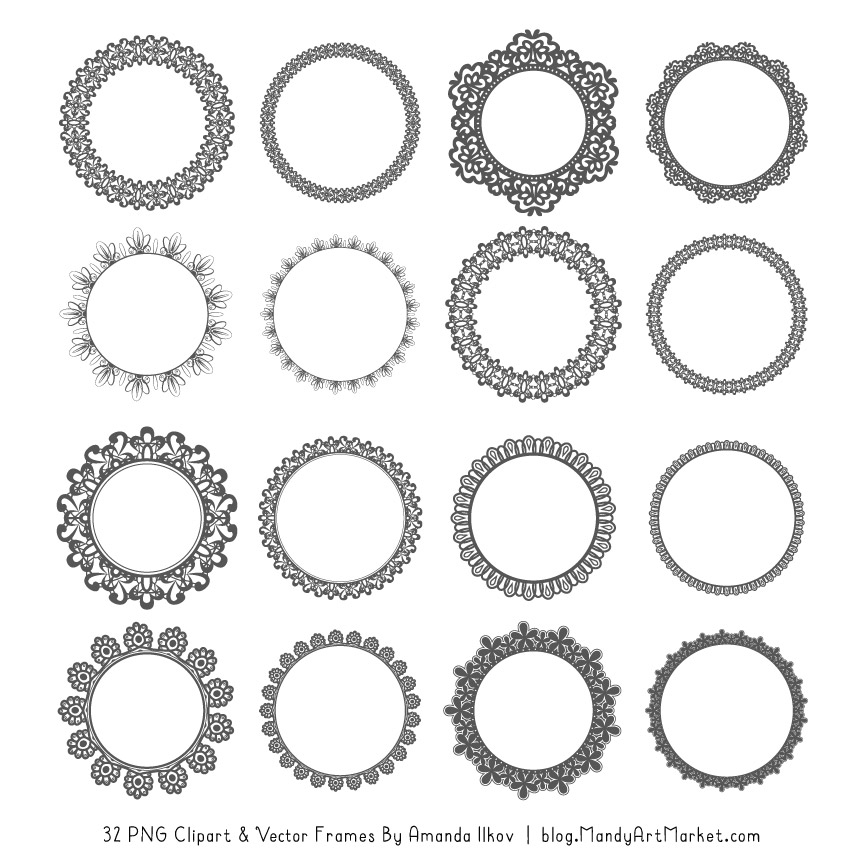 Pewter Round Digital Lace Frames Clipart