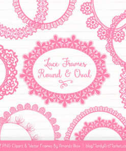 Pink Round Digital Lace Frames Clipart