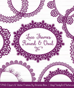 Plum Round Digital Lace Frames Clipart