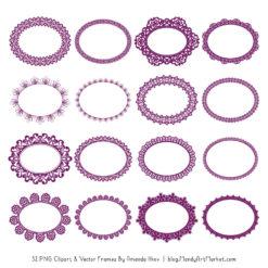Plum Round Digital Lace Frames Clipart