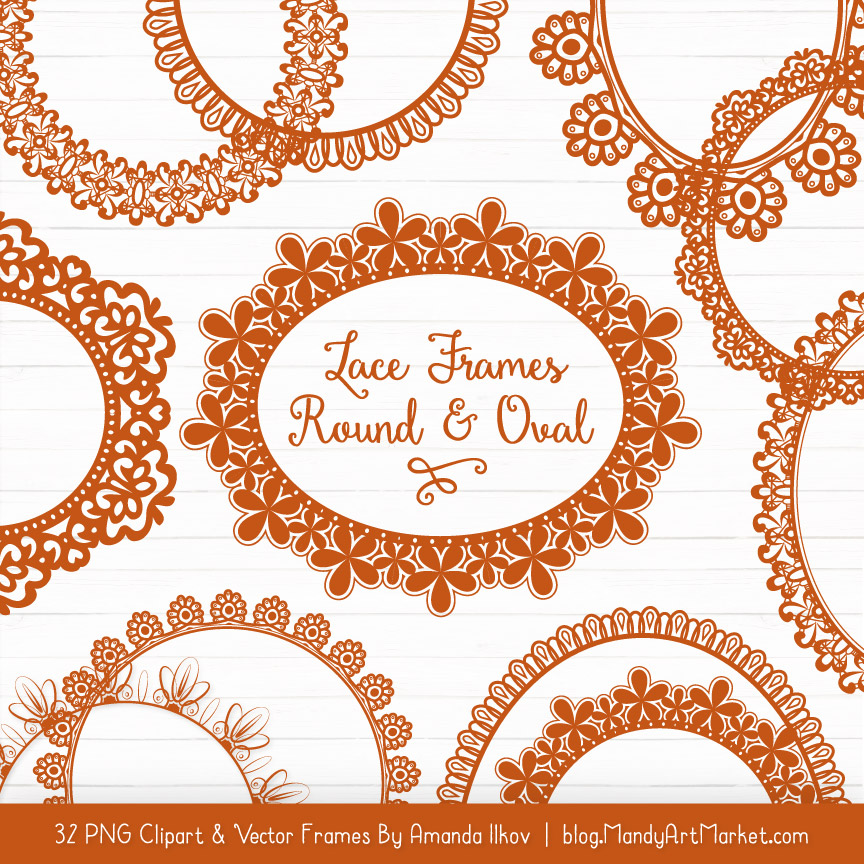 Pumpkin Round Digital Lace Frames Clipart